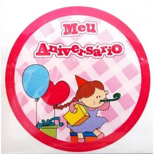 Cartela com 20 Adesivos Redondos p/ latinhas, baleiros, garrafinhas e squeezes - Modelo - Meu Aniversario Menina - AD1014