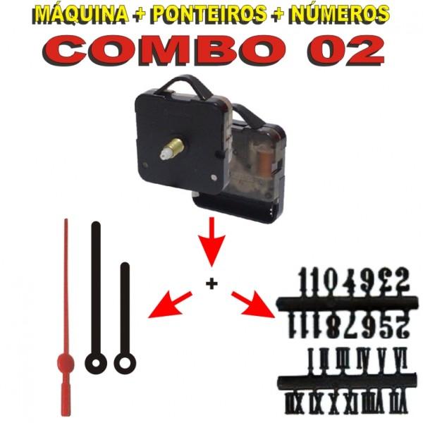 COMBO 02 - 20 Jogos de Máquinas de relógio c/ alça + Jg Pont Palitos G Pretos + Nº Arábicos ou Romanos Pretos