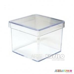 50 Caixinhas de Acrílico Transparente 4x4x3,5 cm para lembrancinhas