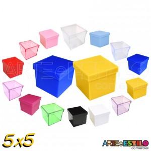 10 Caixinhas de Acrílico 5x5 para lembrancinhas - Cores Diversas