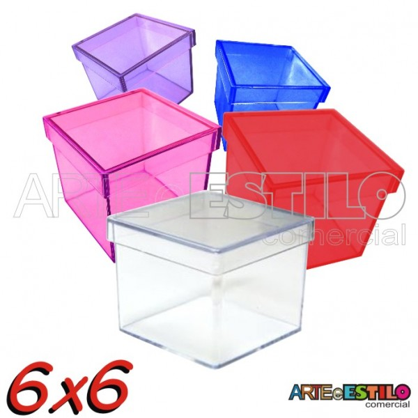 10 Caixinhas de Acrílico 6X6X5 - Cores Diversas Só R$0,79 cada