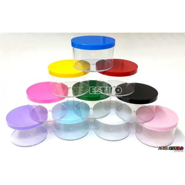 12 Caixinhas de Acrílico Redondas c/ Tampas coloridas 6X4