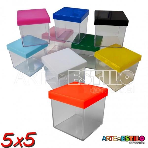 Promoção - Emb c/ 10 Caixinhas de Acrílico c/ Tampa Colorida 5x5x5 cm  -  Só R$0,65 cada