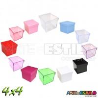 10 Caixinhas de Acrílico 4x4 para lembrancinhas - Cores Diversas