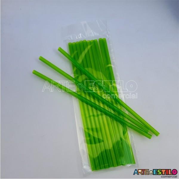 Emb c/ 10 Canudos de Acrílico Verde cristal - 20 cm
