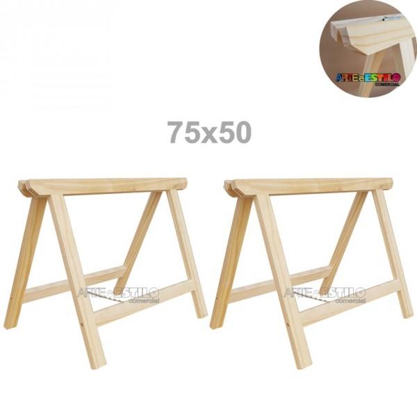 02 Cavaletes de Madeira para mesa - 75x50 cm