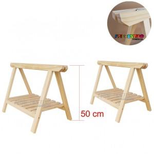 02 Cavaletes de Madeira para mesa com Prateleira - 75x50 cm