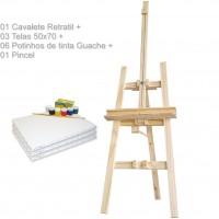 Kit de Pintura com Cavalete Retratil p/ transporte 180X50 + 03 Telas 50X70 + 06 Potes de tinta guache + 01 Pincel