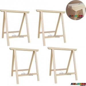 04 Cavaletes Studio de Madeira para mesa, bancada, aparador - 75x80 cm