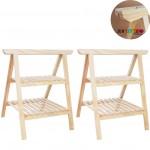 02 Cavalete Studio de Madeira para mesa com 2 Prateleiras - 75x80 cm