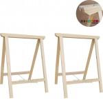 02 Cavaletes Studio de Madeira para mesa, bancada, aparador - 50x80 cm