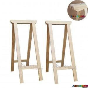 02 Cavaletes Studio de Madeira para mesa, bancada, aparador - 35x80 cm