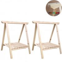 02 Cavalete Studio de Madeira para mesa com Prateleira - 50x80 cm