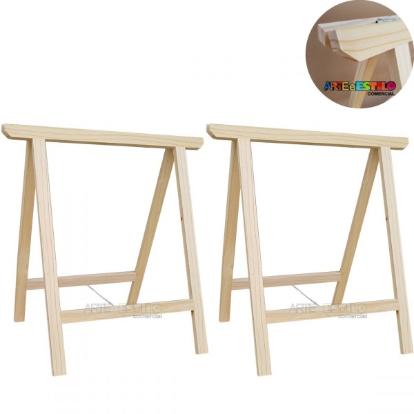 02 Cavaletes Studio de Madeira para mesa, bancada, aparador - 75x80 cm