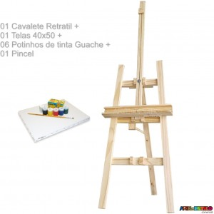 Kit de Cavalete Retratil p/ transporte 180X50 + Tela 40x50 + 06 Potes de tinta guache + 01 Pincel