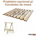 02 Cavaletes Studio de Madeira para mesa com Prateleira para bancada, aparador, mesa - 80X100cm