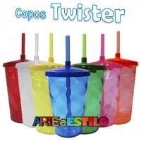 10 Copos de Acrílico Shake Twister com tampa e Canudo - 500 ML - Só R$2,69