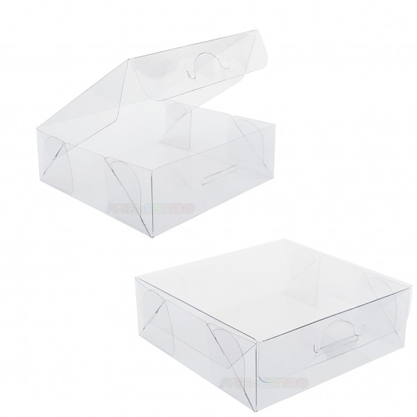 25 Caixas de Acetato 9x9x3 cm tampa com sistema abre e fecha fácil