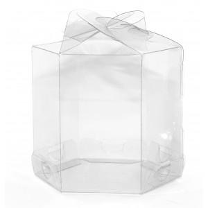 25 Caixas Sextavadas p/ Cup cakes em pet transparente 7,5X7,5X7,5 cm