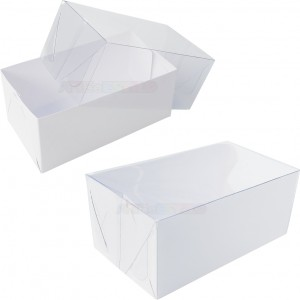 25 Caixas com fundo branco e tampa transparente 14X8X6 cm