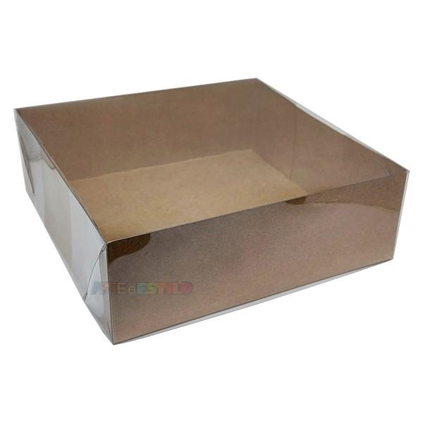 25 Caixas de Acetato fundo Kraft 18X18X6 cm