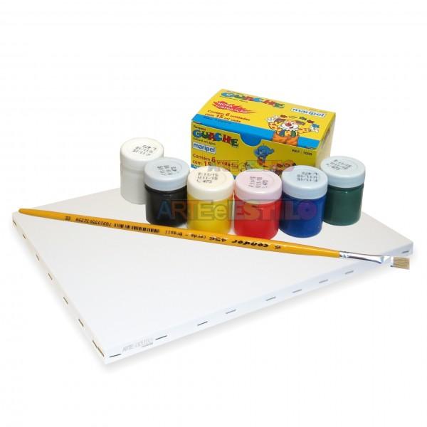 Kit de Pintura c/ 01 Telas + 06 Cores de tintas + 01 Pincel