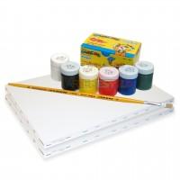 Kit de Pintura Infantil c/ 02 Telas + 06 Cores de tintas + 01 Pincel