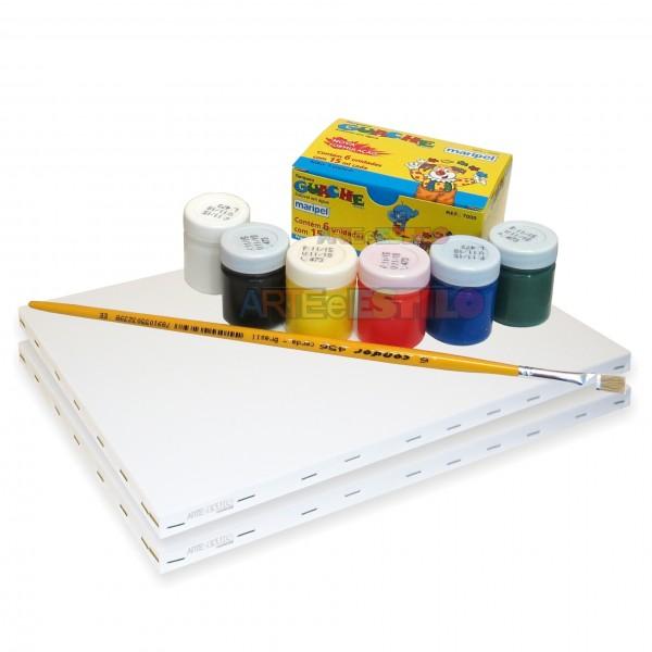 Kit de Pintura c/ 02 Telas + 06 Cores de tintas + 01 Pincel