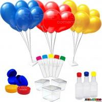 Kit Lembrancinhas contendo 252 Itens com Suportes de Balões, Tubetes, Caixinhas, Baleiros,  Garrafinhas e Latinhas