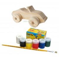Kit de Pintura Infantil Carrinho Conversível de Madeira + 06 Tintas e Pincel
