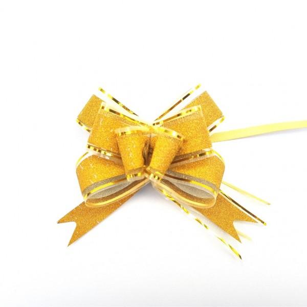 Laço Pronto Dourado com Brilho e Filete Dourado 30x480 mm - 10 unidades