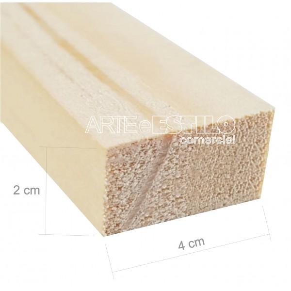 Barra 3 metros de madeira de pinus 4x2 cm com comprimento de 3 metros