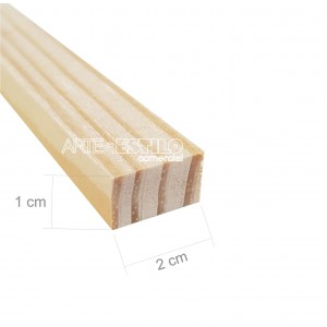 Barra 3 metros de Madeira para Reforço e uso geral Perfil 2x1 cm em Pinus para Painéis de Pintura Impressão