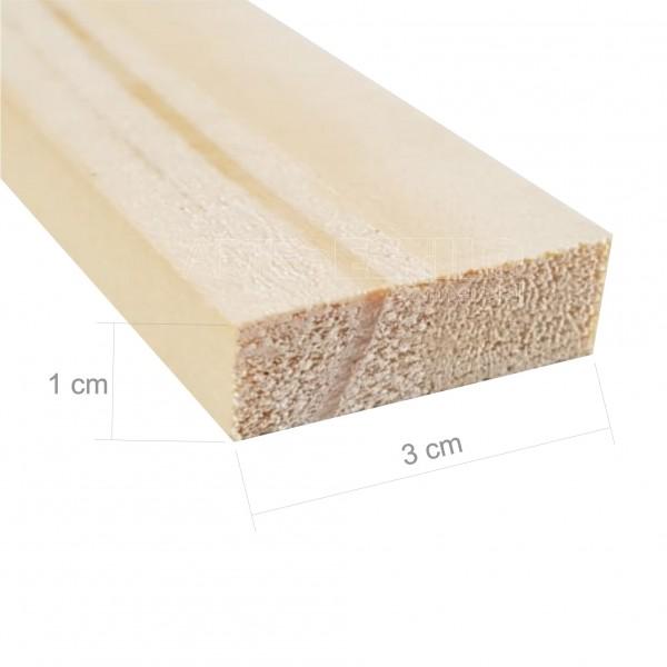 Barra 3 metros de madeira de pinus 3x1 cm com comprimento de 3 metros