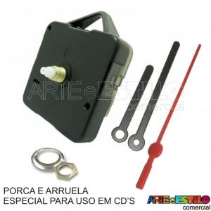 10 Maquinas de relogio QUARTZ (Tic-Tac) PARA USO EM CD'S eixo 13 (5,5 mm de rosca) com alça