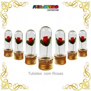 12 Mini Tubetes 08 cm + 12 Mini Rosas e tampa dourada de metal - Só R$1,19 cada