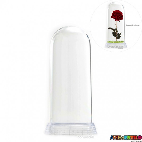 Redoma Cúpula de Acrílico com Base Transparente - Modelo G - 19 cm