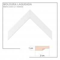 Moldura em Barra cor Branca em Madeira Laqueada Perfil 2x1 cm - Barras com 2,7 m