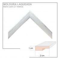Moldura em Barra cor Prata em Madeira Laqueada Perfil 2x1 cm - Barras com 2,7 m