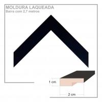 Moldura em Barra cor Preta em Madeira Laqueada Perfil 2x1 cm - Barras com 2,7 m