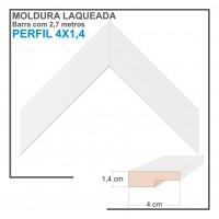 Moldura em Barra cor Branca em Madeira Laqueada Perfil 4x1 cm - Barras com 2,7 m