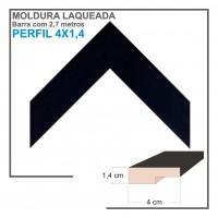 Moldura em Barra cor Preta em Madeira Laqueada Perfil 4x1 cm - Barras com 2,7 m