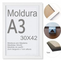 10 Molduras Prontas A3 - 30x42 Cor Branca