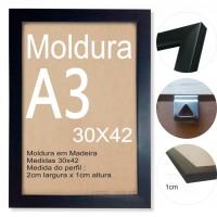 10 Molduras Prontas A3 - 30x42 Cor Preta