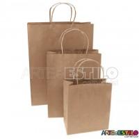 "10 Sacolas de papel Kraft Natural ""M"" 18x09x22 cm"