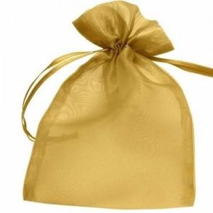 12 Saquinhos de Organza Dourado 15 X 20 cm