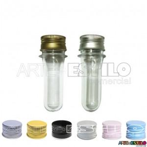 20 Mini Tubetes com tampa de Metal, preformas, tubo de ensaio 08cm só R$0,63 cada